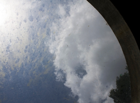 Clouds viewed through a skylight
