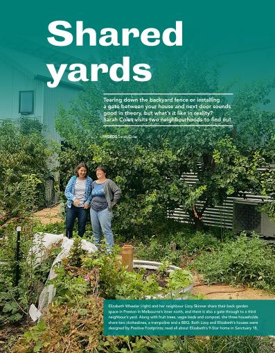First page of article in Sanctuary magazine about shared yards showing two neighbours in a garden.