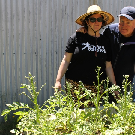 Neil Foley and Rani Watts pictured with their devastated potato crop.
